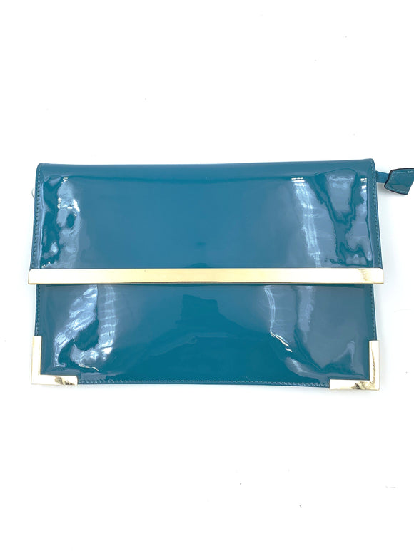 Blue Patent Clutch Bag