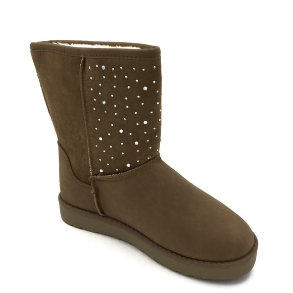 Chestnut Diamante Ugg Style Fur Boots