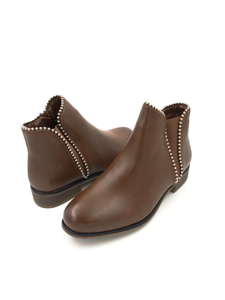 Camel Leather Ankle Boots