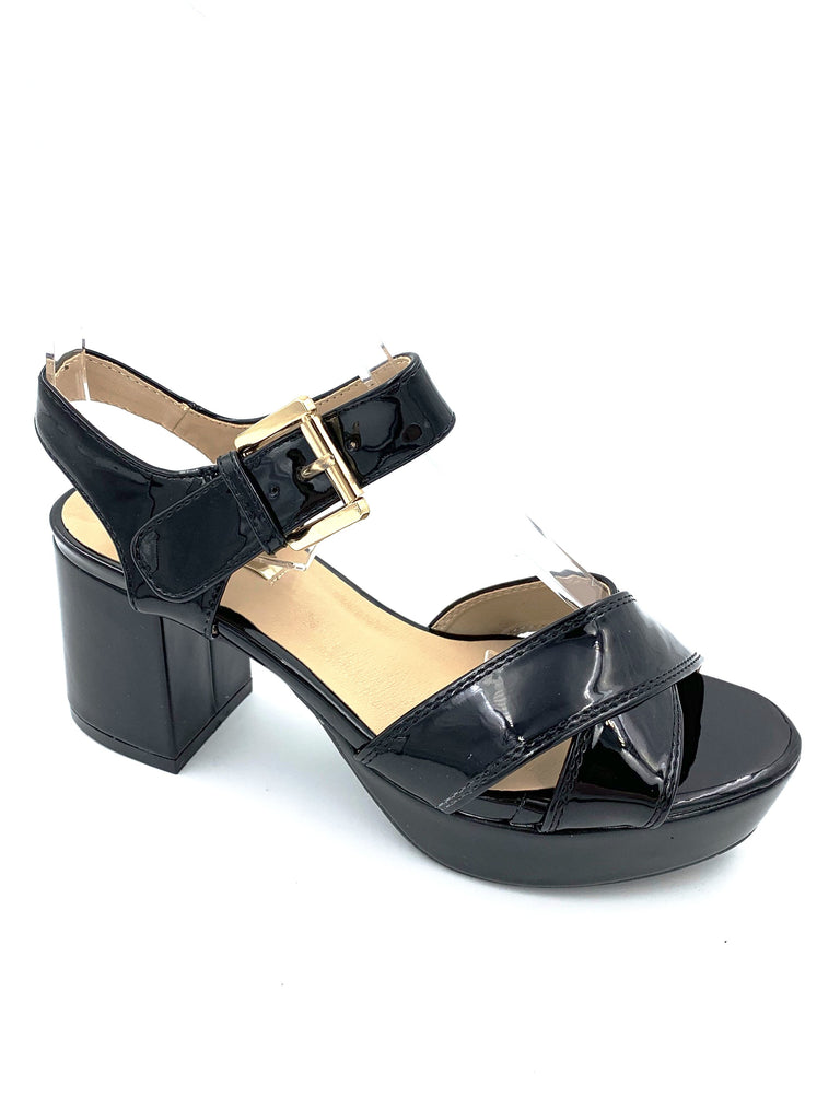 Black Patent Block Sandals