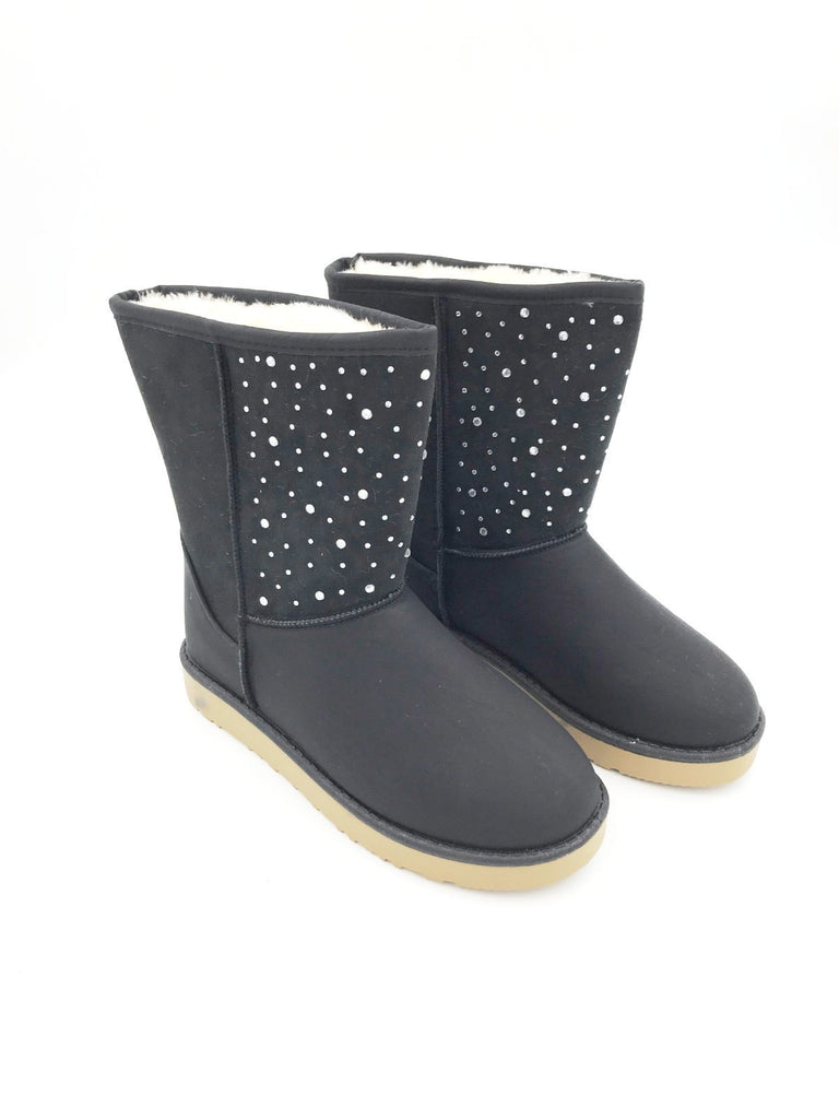 Black Diamante Ugg Style Fur Boots