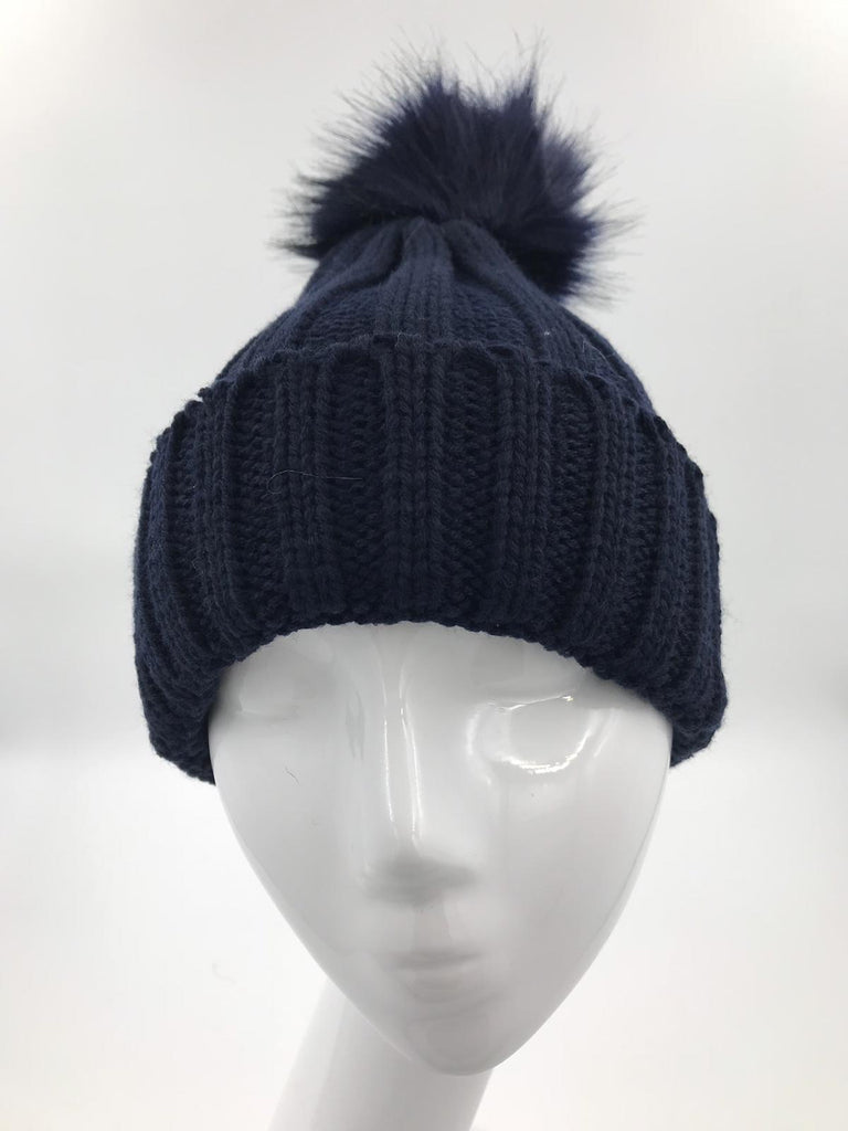 Navy Blue Fur Pom Hat