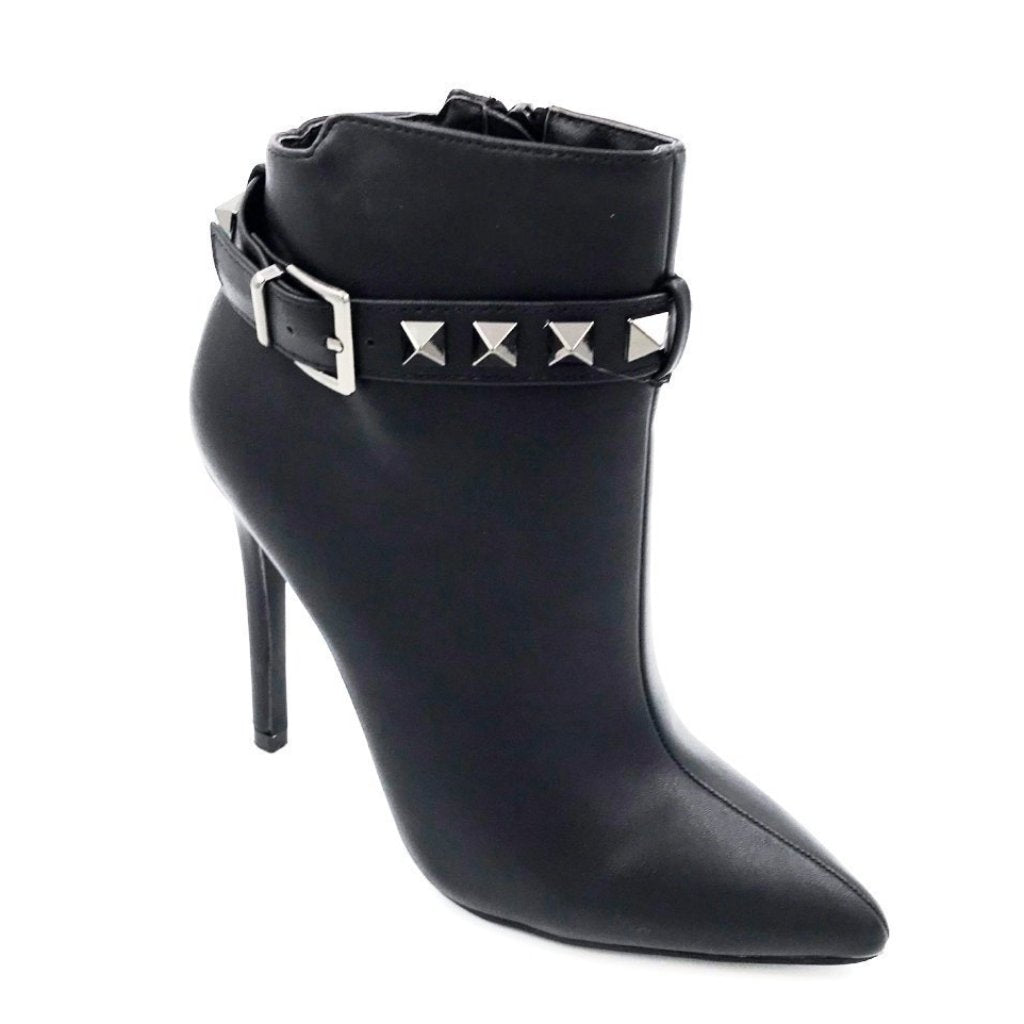 Black Leather Studded Ankle Boot Heels