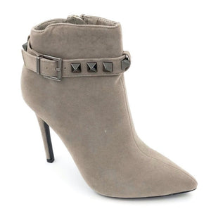 Grey Suede Studded Ankle Boot Heels