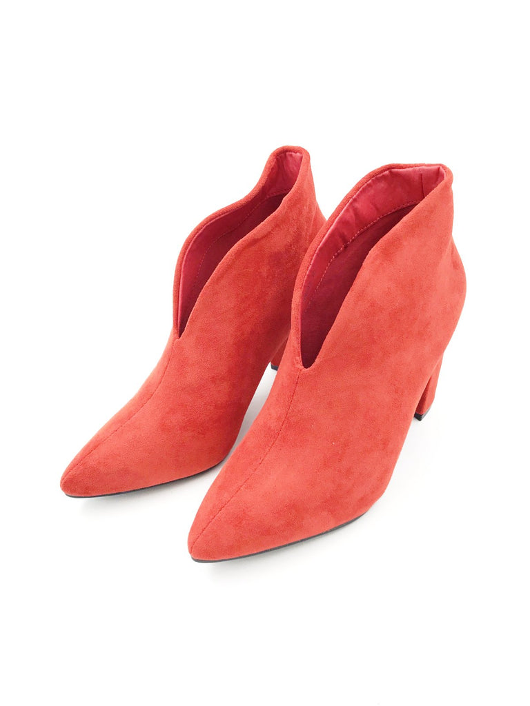 Red Suede V Front Block Heel Ankle Boots
