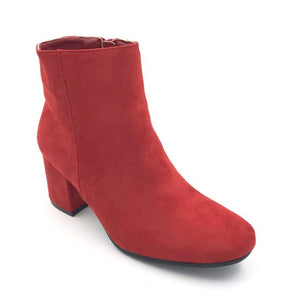 Red Suede MId Ankle Boots