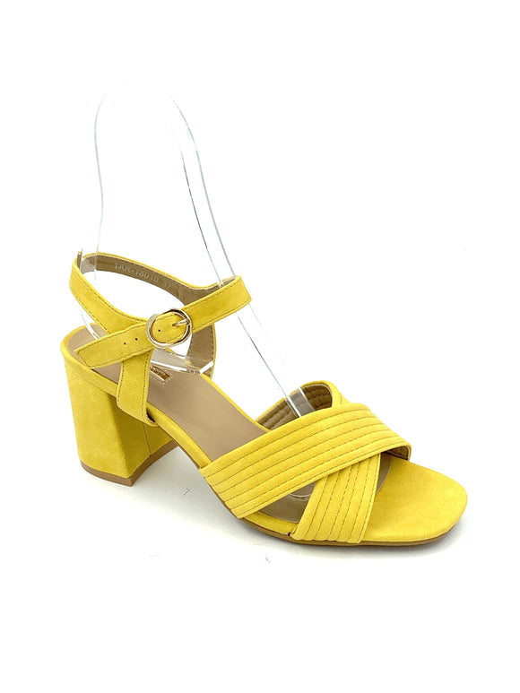 Yellow Suede Block Heel Sandals