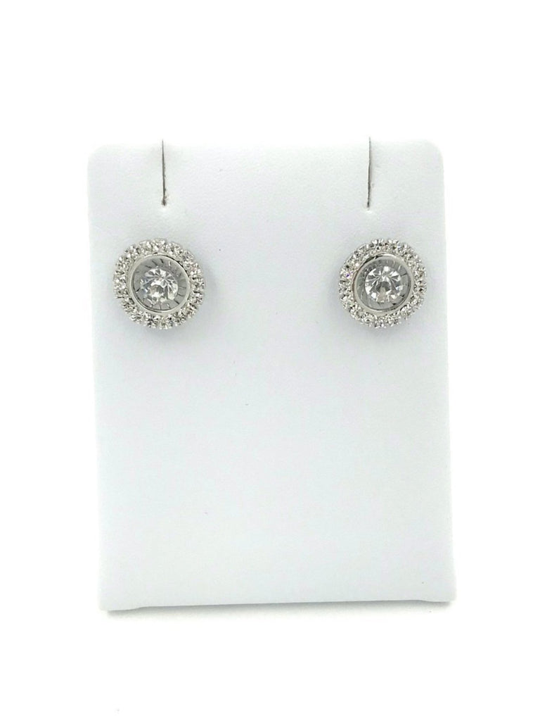 Circular Silver Diamond Earrings