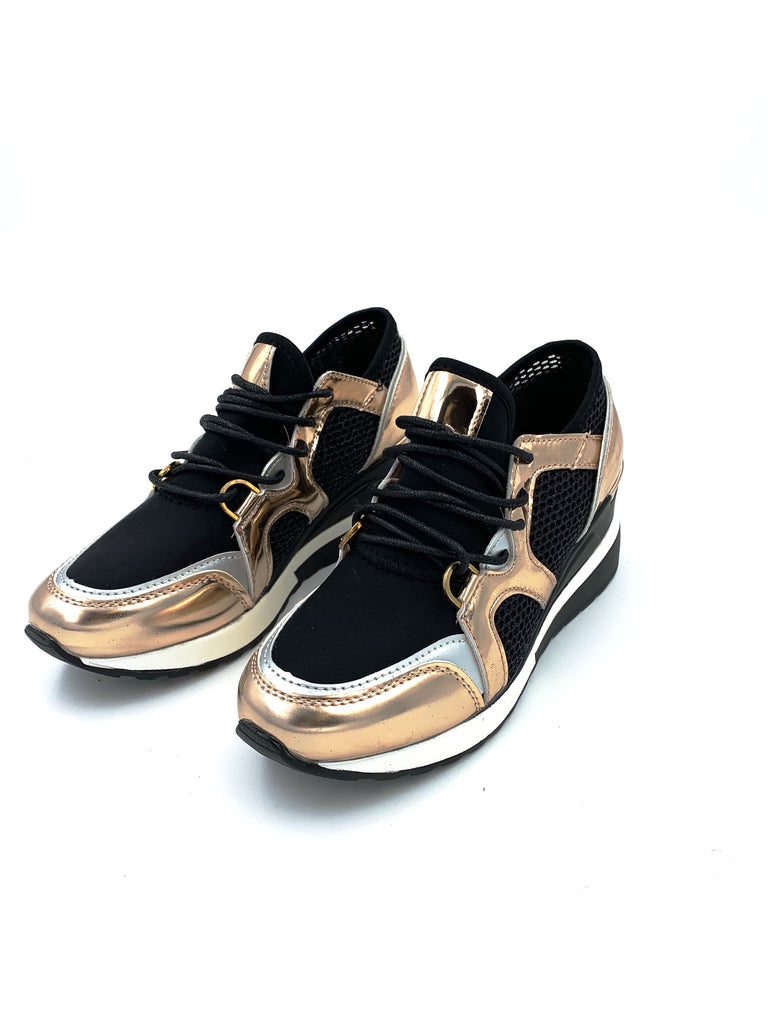 Rose Gold Metallic Trainers