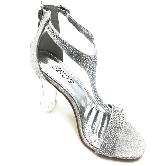 Silver/Clear Diamante Heels