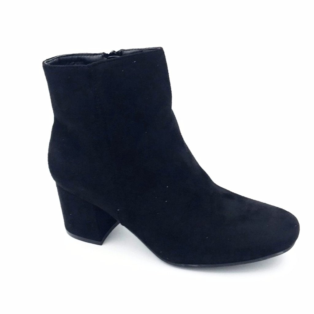 Black Suede Mid Ankle Boots
