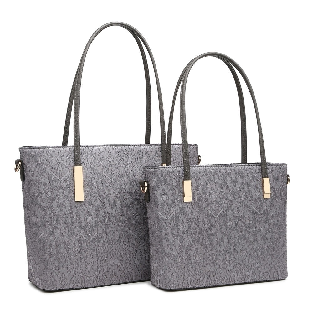 Large Grey Laced Handbag