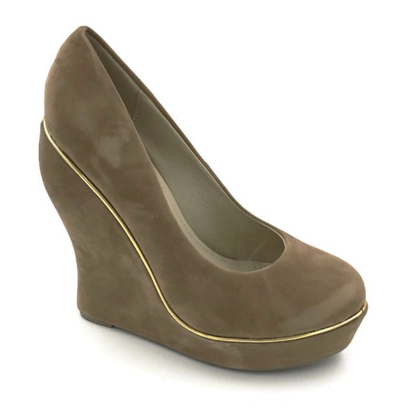 Beige Suede Wedge Heel