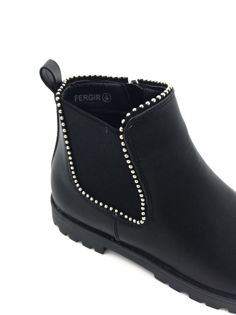 Black Leather Flat Studded Ankle Boots