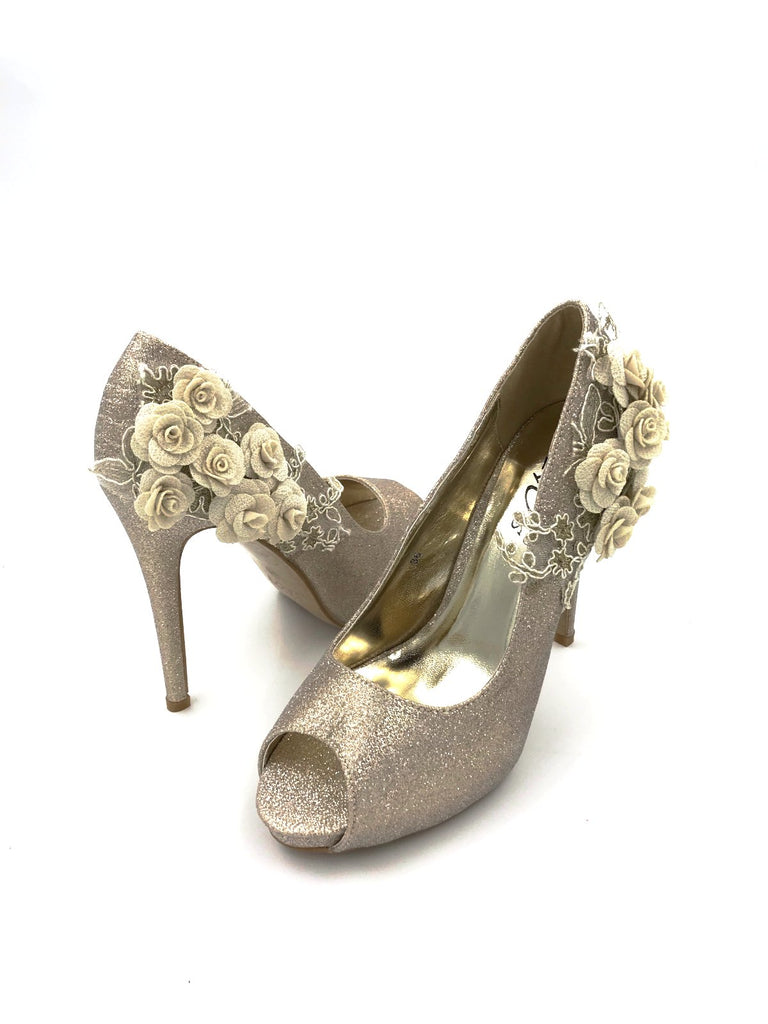 Gold Peep Toe Laced Flower Heels