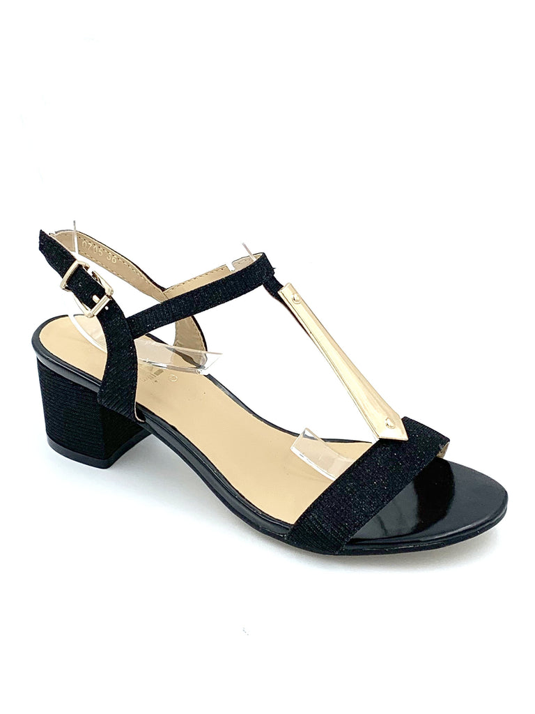 Black Glitter Block Heel Sandals