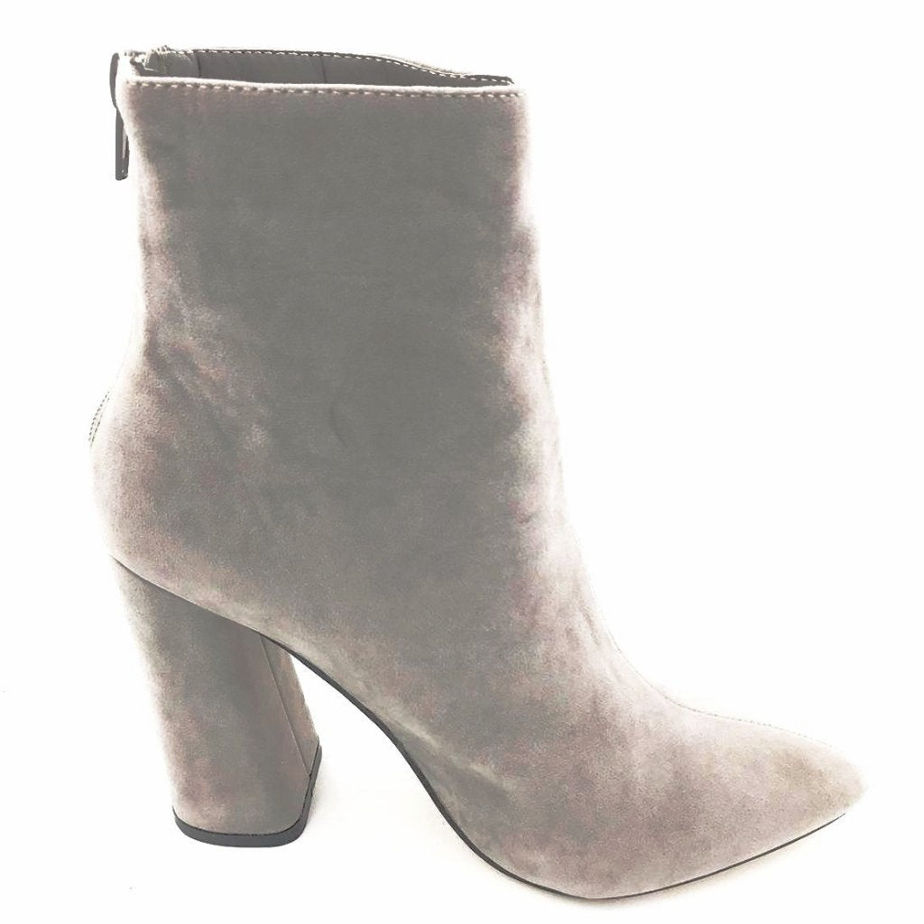 Grey Suede Pointy Block Heel Boots