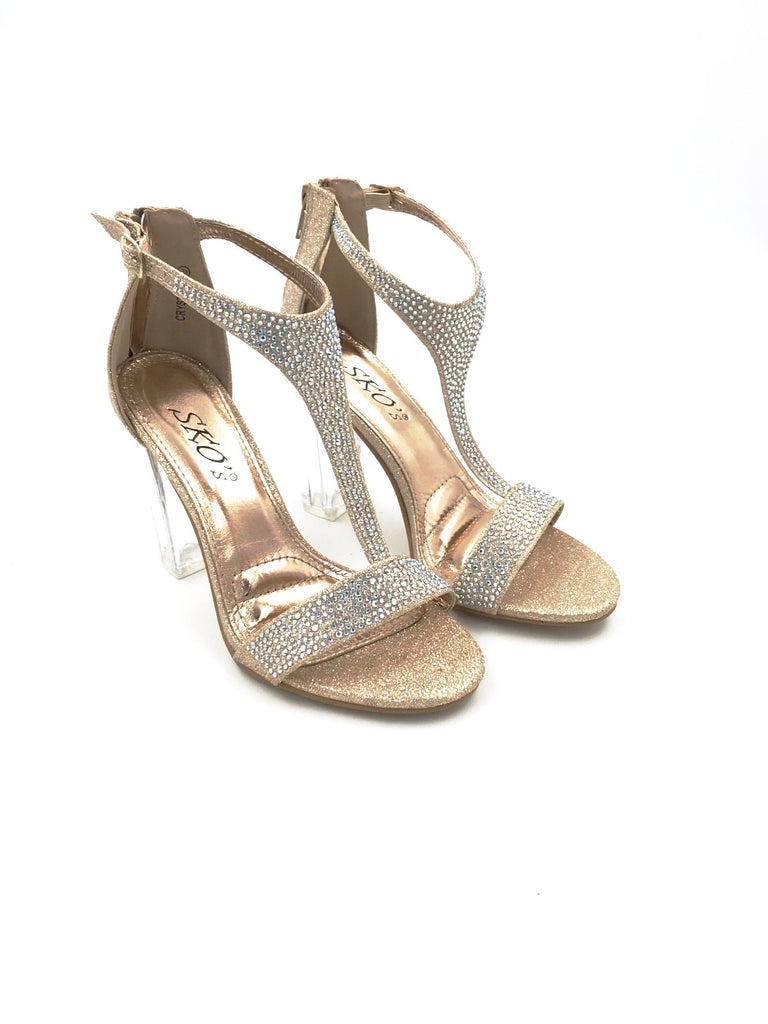 Gold/Clear Diamante Heels
