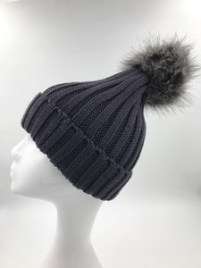Dark Grey Fur Pom Hat