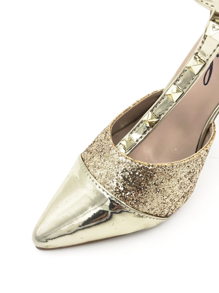 Gold Glitter Studded Pointy Heels