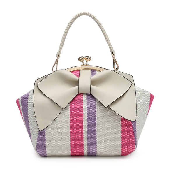 Pink Purple Bow Clutch Bag