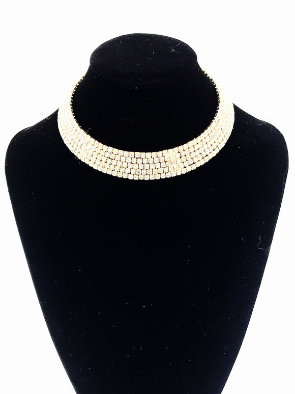 Gold Diamante Choker Necklace