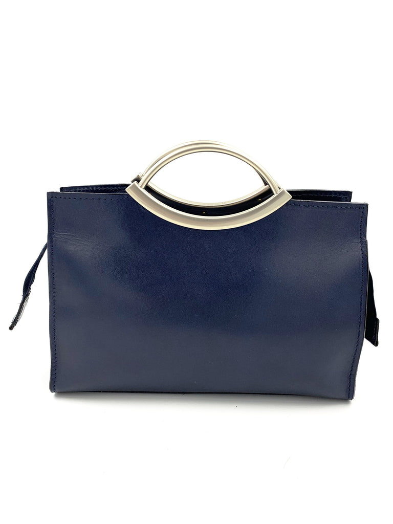 Navy Blue Real Leather Handbag