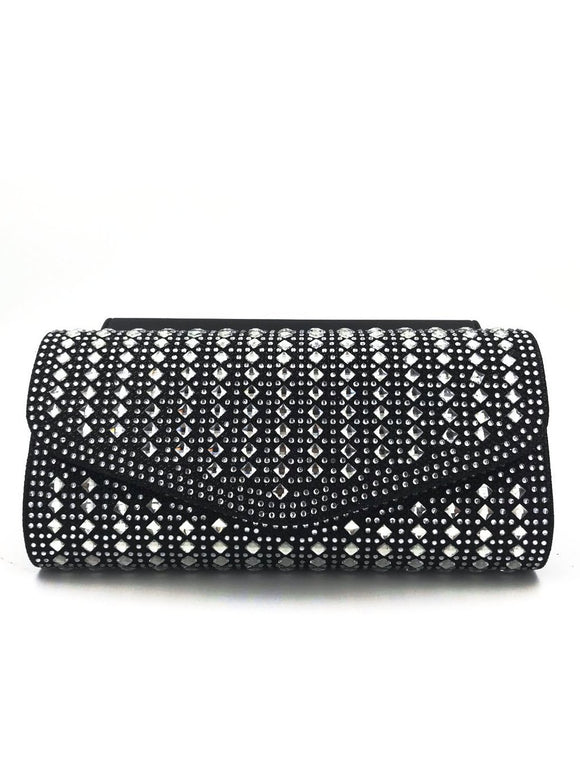 Black Silver Diamante Clutch Bag