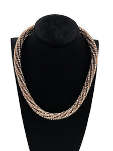 Gold White Twisted Diamond Necklace