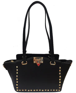 Black Gold Studded Handbag