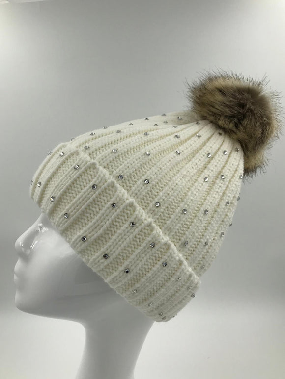 White Diamante Fur Pom Hat