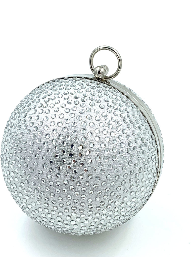 Silver Diamante Sphere Clutch Bag