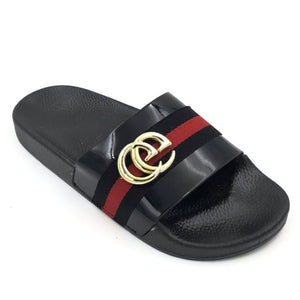 Black Gucci Style Sliders