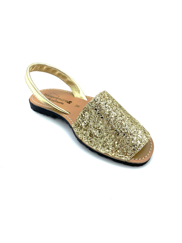 Gold Glitter Real Leather Espadrille Sandals