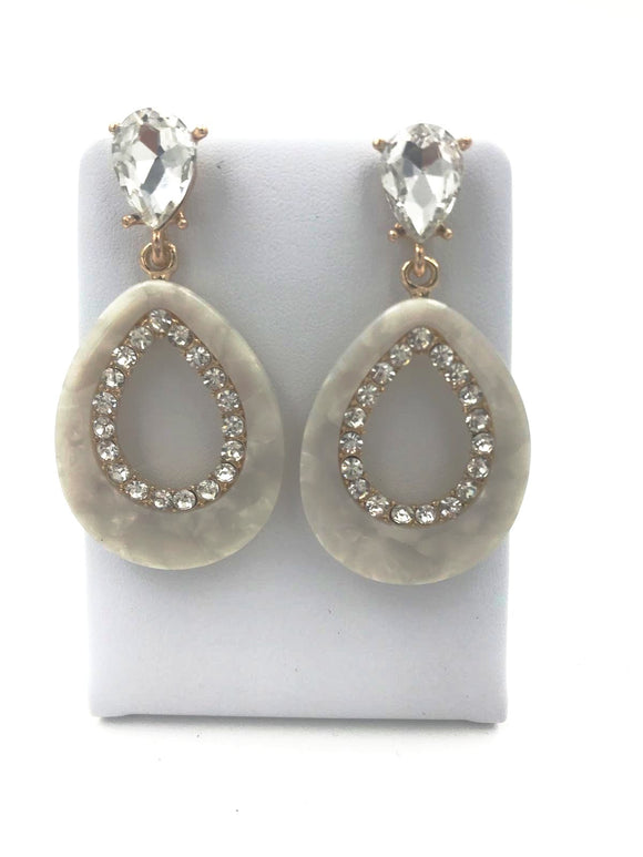 Marble Style Diamante Stud Earrings