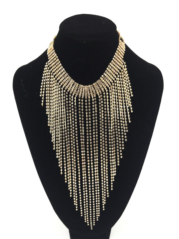 Gold Diamond Dangle Necklace