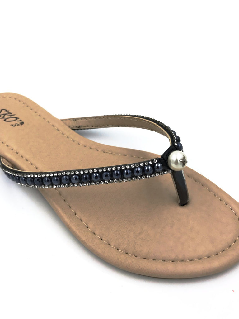 Black Diamante Flip Flops