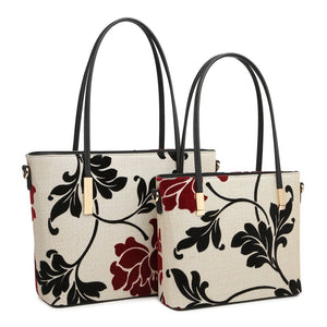 Large Beige Embroidered Flower Handbag