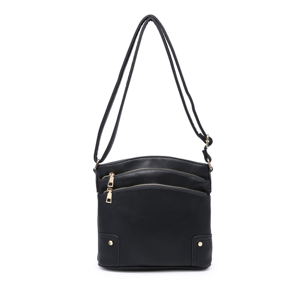 Black Zip Over The Shoulder Handbag