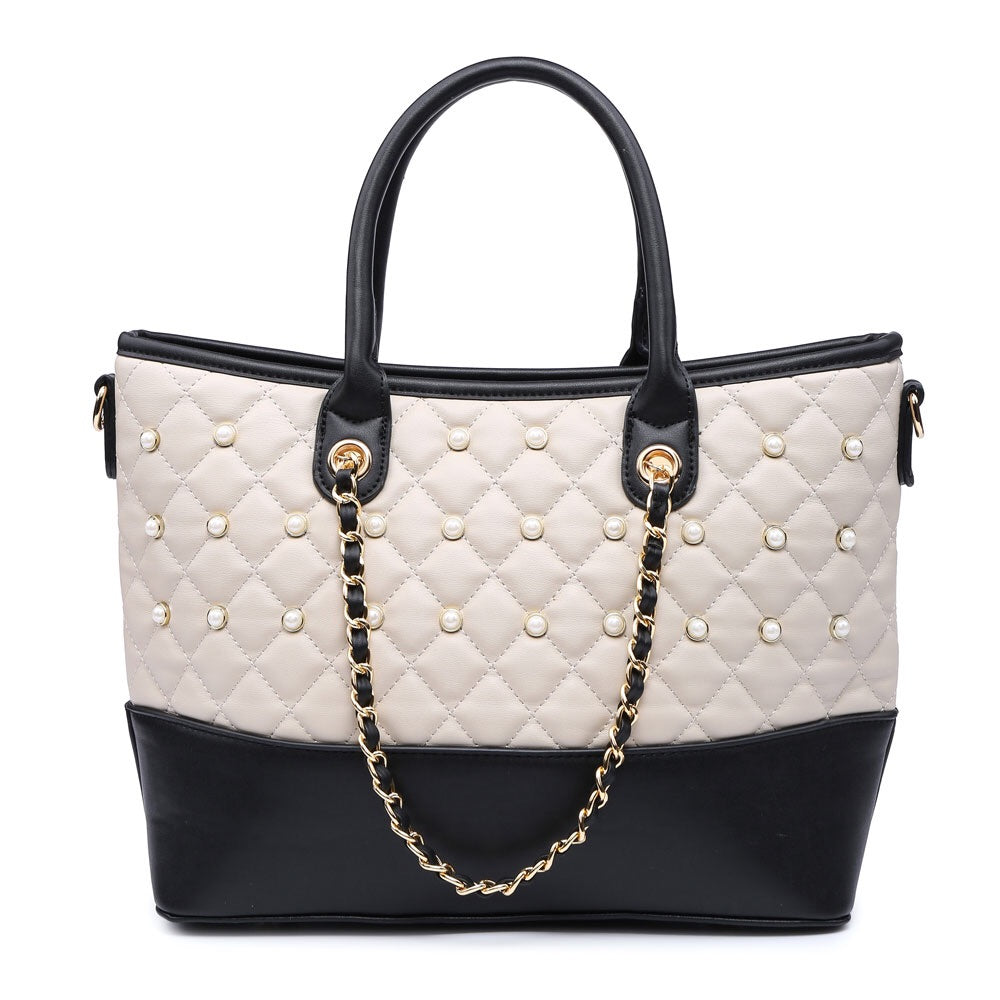 Beige Quilted Pearl Studded Handbag
