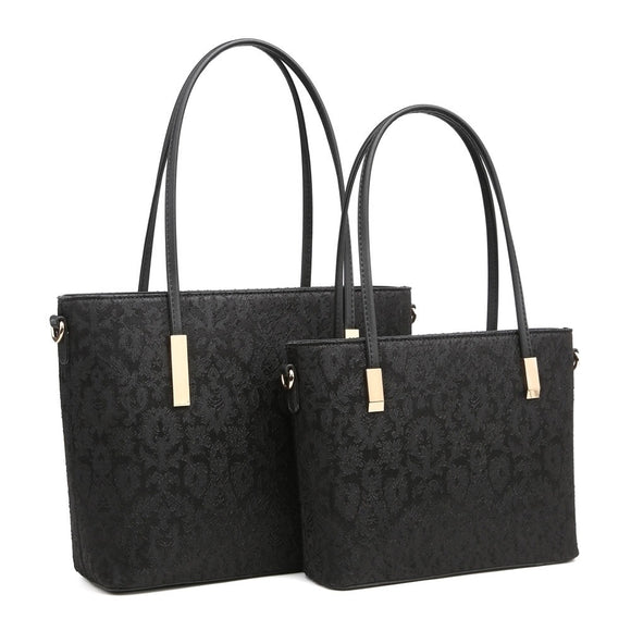 Large Black Laced Handbag