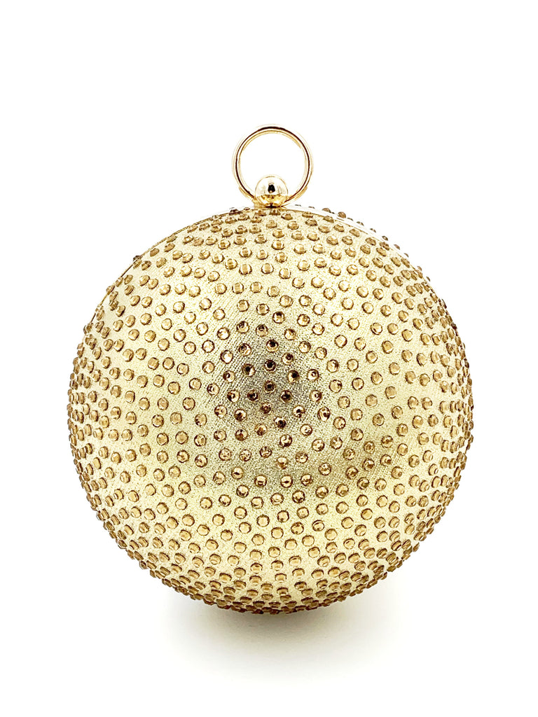Gold Diamante Sphere Clutch Bag
