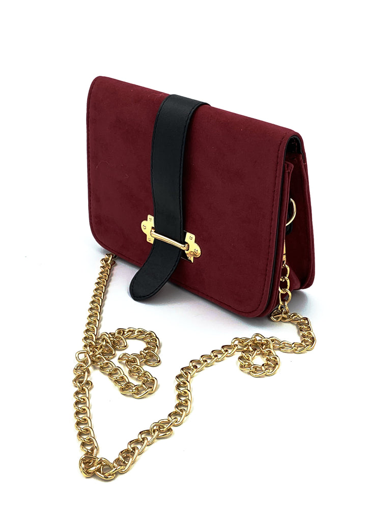 Burgundy Belt Clutch Bag