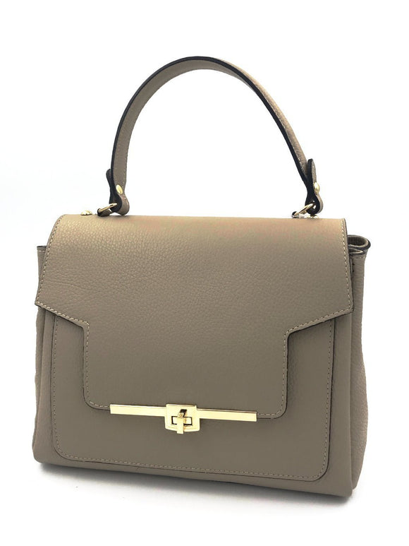 Beige Real Leather Handbag