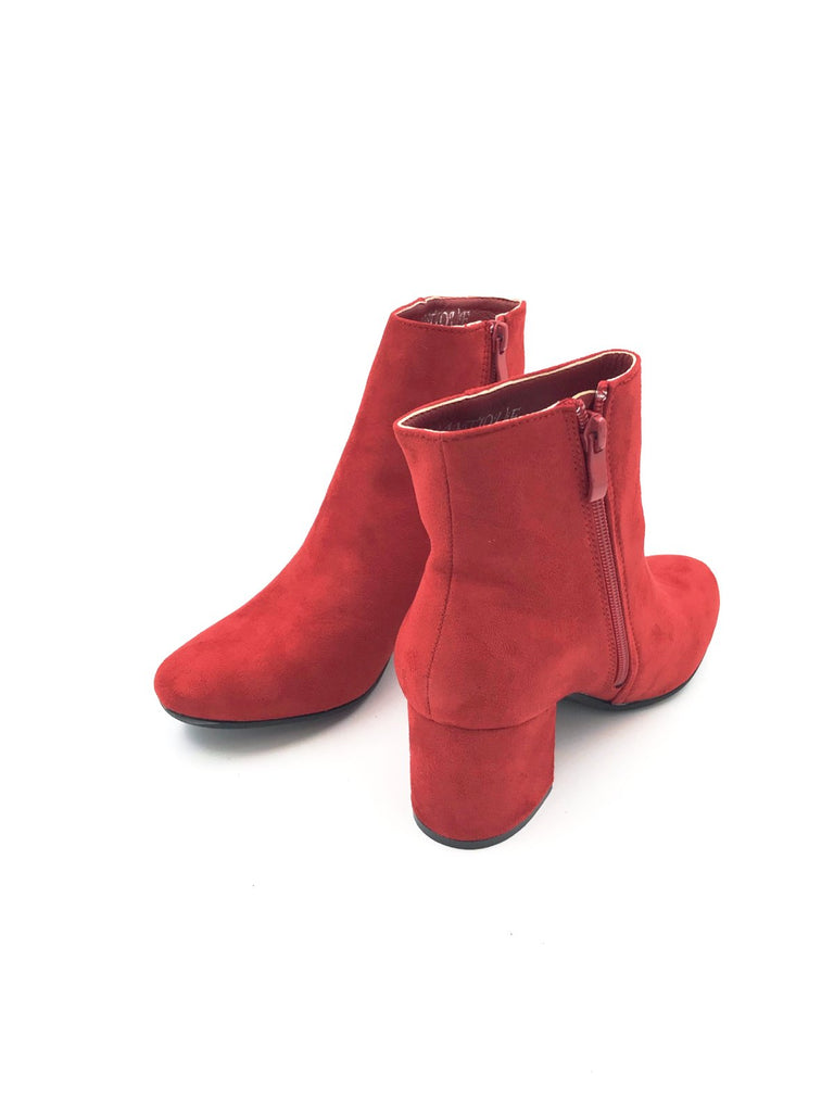 Red Suede MId Ankle Boot