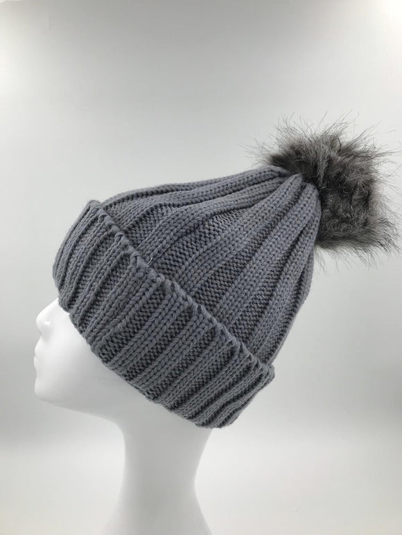 Grey Fur Pom Hat