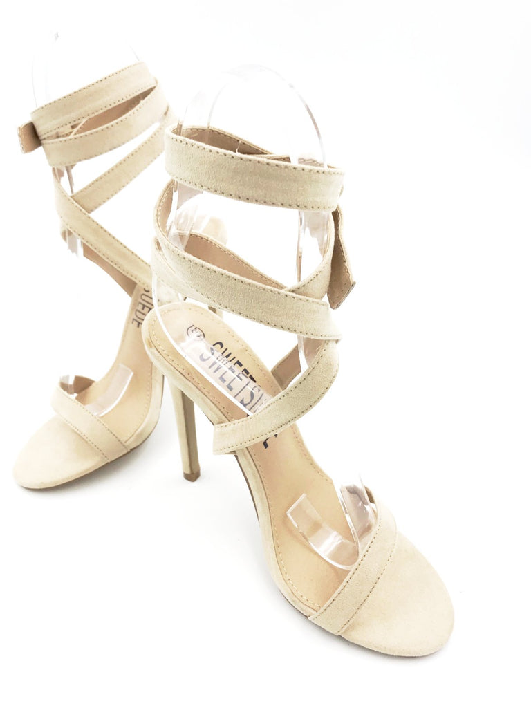 Nude Suede Strapped Heels