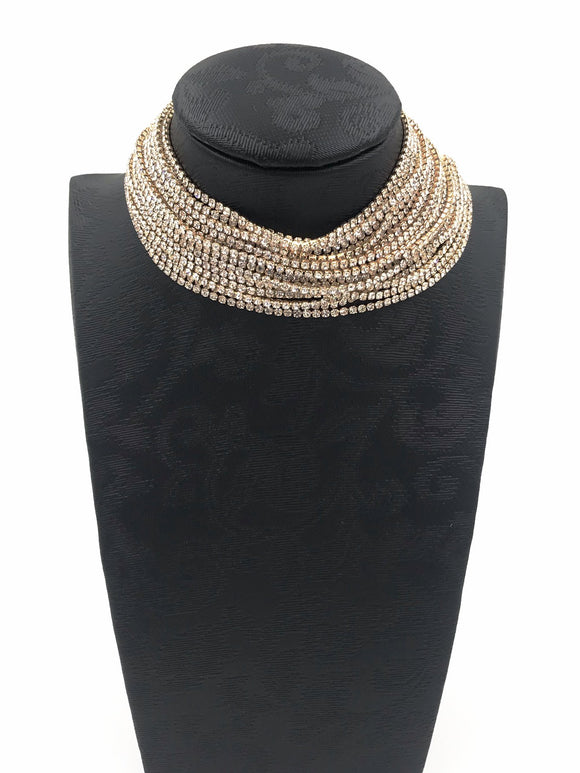 Gold Choker Layered Diamante Necklace