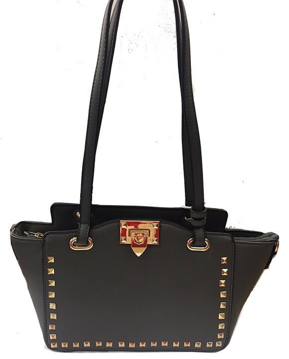 Dark Grey Gold Studded Handbag