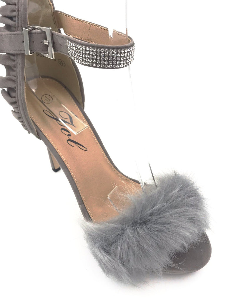 Grey Suede Fur Diamante Strap Heels